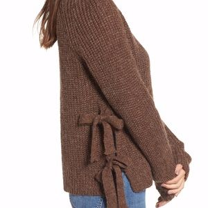 ASTR The Label brown sweater with side ties✨